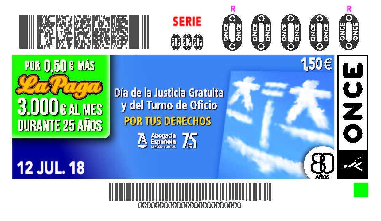 El Día De La Justicia Gratuita Y Del Turno De Oficio, En 5,5 Millones De Cupones De La ONCE