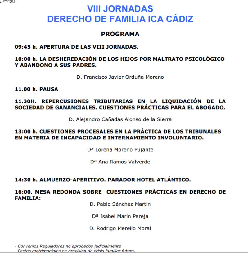 VIII Jornadas De Derecho De Familia En Cádiz