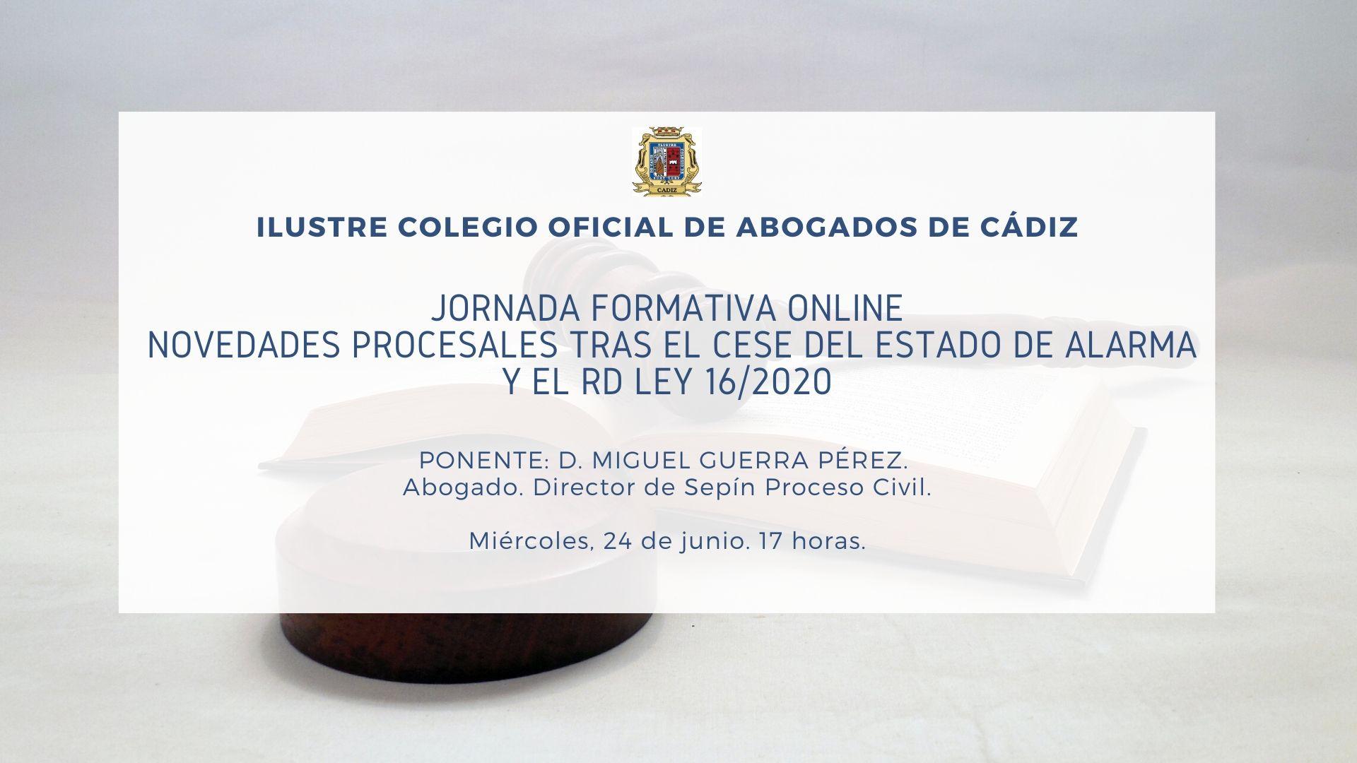 Jornada Formativa: Novedades Procesales Tras El Cese Del Estado De Alarma Y El RD LEY 16/2020