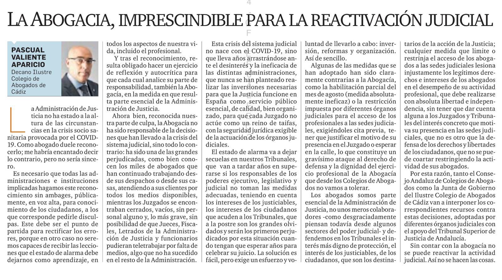 """Artículo De Opinión: """"La Abogacía, Imprescindible Para La Reactivación Judicial"""""""