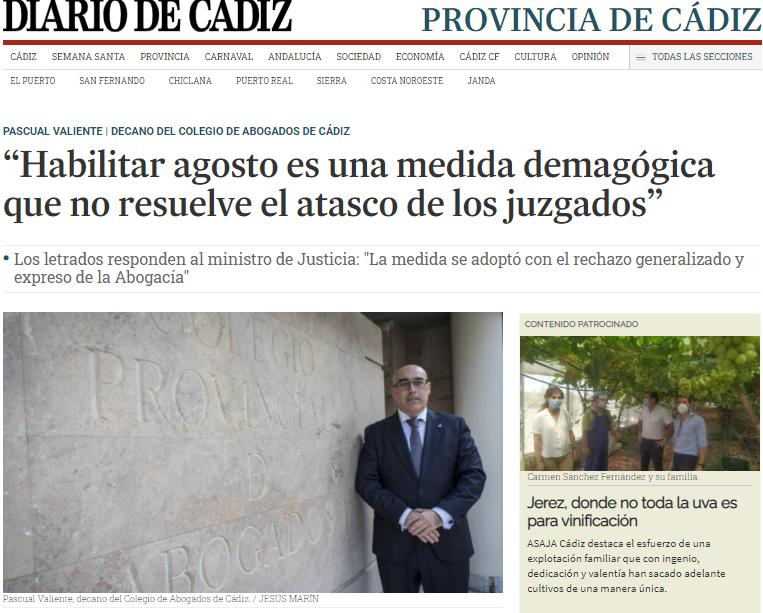 """Publicación En Diario De Cádiz """"Habilitar Agosto Es Una Medida Demagógica Que No Resuelve El Atasco De Los Juzgados"""""""